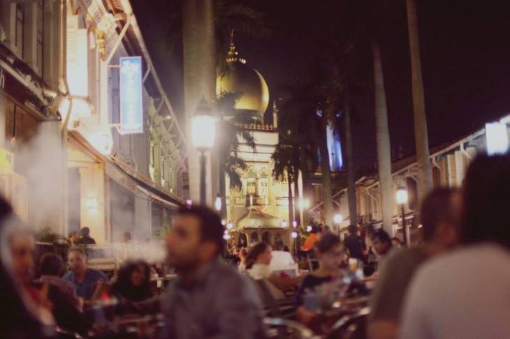 The atmosphere of Arab Street, one of the main areas in Singapore that sells shisha. Photo by Rachael Hyde.