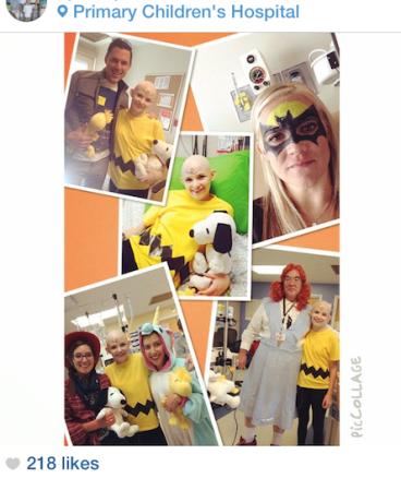 Addie Napierski dressed as Charlie Brown for Halloween, from April Napierski's Instagram