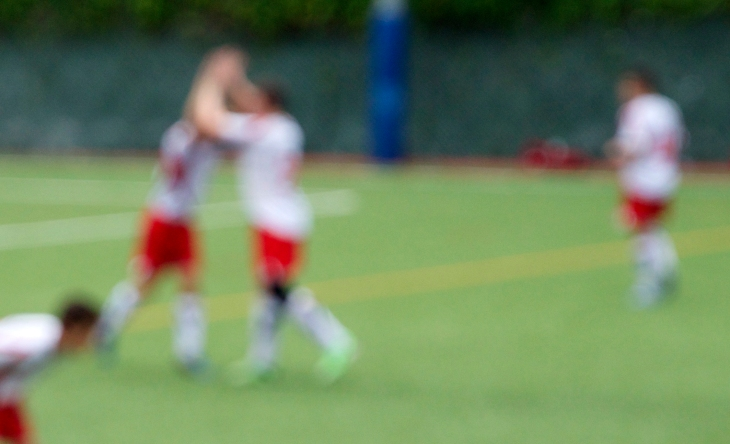 Eagle boys high-five in celebration of their goal.