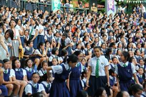 Raffles Girls participate in their Student Leaders Investiture (PC: Raffles Photography).