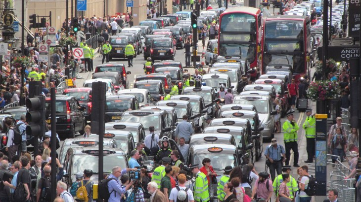 Thousands of taxi drivers protested against Uber in July 2014. Image from Flickr.