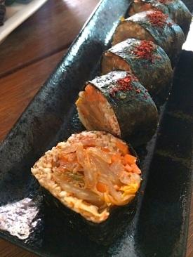 Main Course: Spicy Kimchi Nori Rolls.