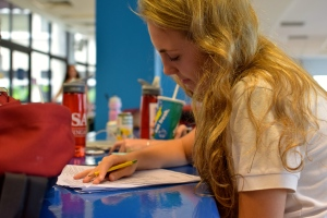 Even in the cafeteria, students are constantly studying.  Photo by: Christopher Khoo