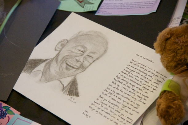 Drawing of Lee Kuan Yew by a primary school student. Photo by Gabriel Goh.