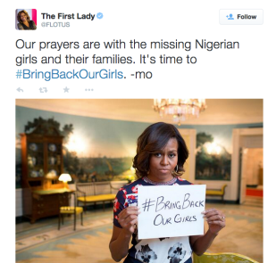 First Lady Michelle Obama shows her support for the #bringbackourgirls movement. Taken from Michelle Obama's twitter account.