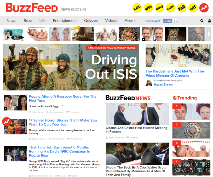 Students at SAS often go to Buzzfeed and similar websites for news. Creative Commons License.