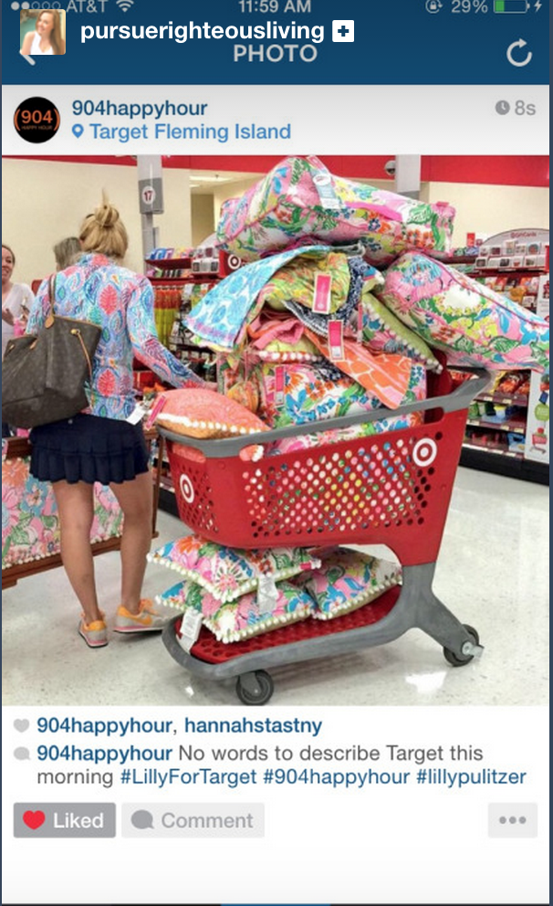 A shopper at the launch of Lilly for Target stacks her cart high. Photo courtesy of  Instagram.