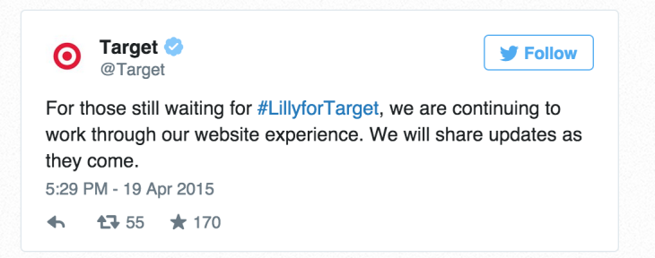The clothes sold out quickly in the store but online shoppers were also out of luck when the Target website crashed. Photo courtesy of Twitter.
