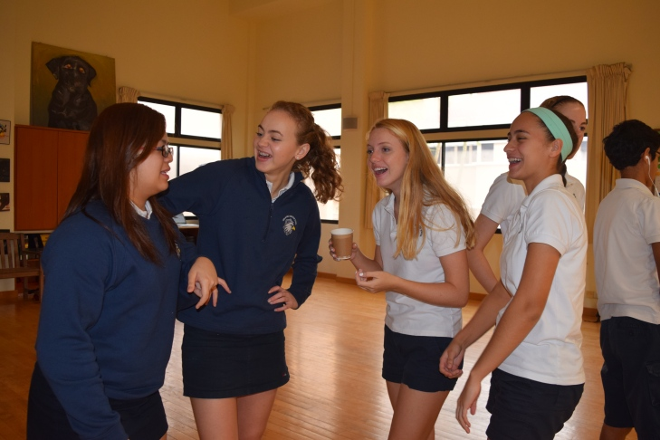Sophomores Kayla Marcelo, Maddie Zubrod, Hannah Terrile, and Sabrina Gonzalez-Russi interact during their morning greetings in advisory.