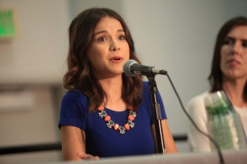 Ingrid Nilsen speaking at the 2014 VidCon at the Anaheim Convention Center in Anaheim, California. Taken by Gage Skidmore