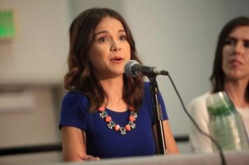 Ingrid Nilsen speaking at the 2014 VidCon at the Anaheim Convention Center in Anaheim, California. Taken by Gage Skidmore