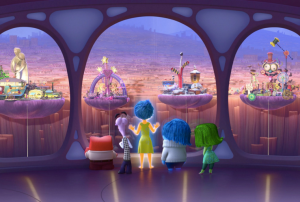 """Inside Out"" characters admiring the Personality Islands. Photo courtesy of Pixar"