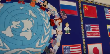 Wall display in the elementary school celebrating UN Day.