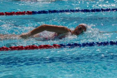Kaitlyn swimming Freestlye at IASAS in Manilla. Photo Credit Kerstin Hagemeister.