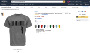 This screenshot shows a t-shirt with a barcode, and a man hanging from the end.