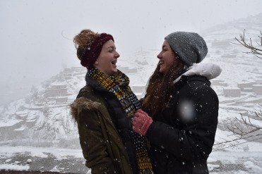 Hayden Reeves and Rachel Young enjoy the snow in the mountains of Morocco. Photo contributed by Rachel Young