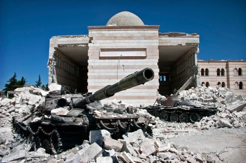 A destroyed tank in Syria - Creative Commons license