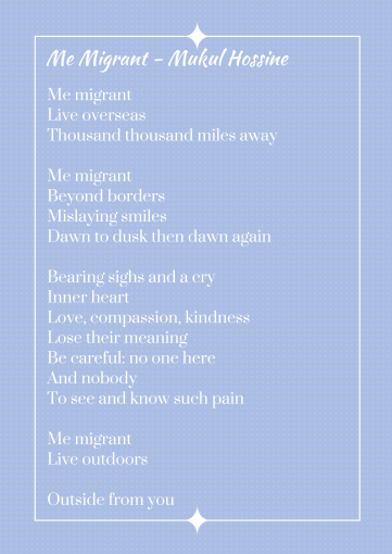 Me Migrant - A poem by Hossine