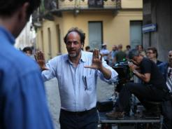 Luca Guadagnino on the set of Call Me By Your Name