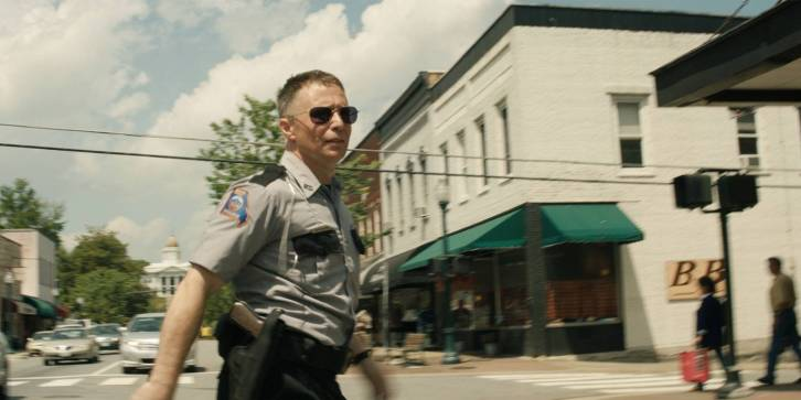 Sam Rockwell is Jason Dixon in Three Billboards outside Ebbing, Missouri