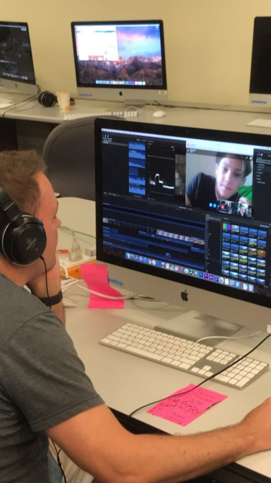 The grind never stops. Editor of 'Proxy' Niko Welsh skypes Shack to help Director Jensen edit on Final Cut Pro.