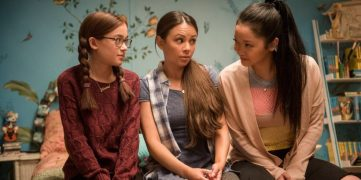 The three half-Korean half-American Covey sisters. From left to right: Kitty(Anna Cathcart), Margot(Janel Parrish), and the main lead, Lara Jean(Lana Condor). Source: The Huffington Post