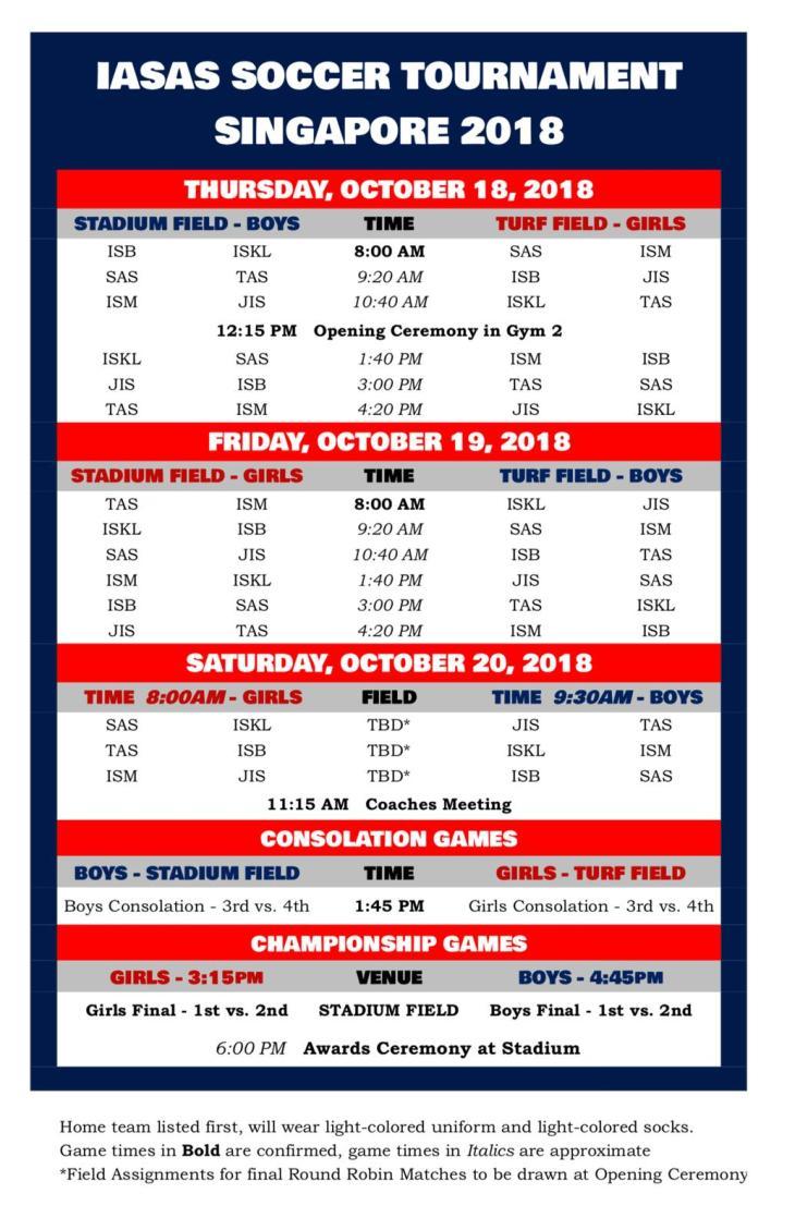 Iasas schedule